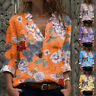 Women Fall Casual T Shirt Long Sleeve V Neck Tops Floral Tunic Loose Blouse
