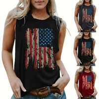Women's Sleeveless American Flag 4th July Patriotic Top T-Shirt Blouse Vest Tank