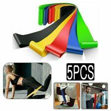 5 Pcs Elastic Resistance Bands Loop Set Home Gym Fitness Yoga Exercise Workout