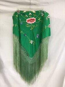 VINTAGE  Embroidered Green Fringed Piano Shawl  very good condition