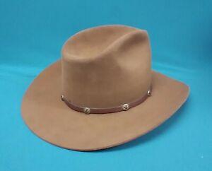 "Vtg 1980's Stetson 4X Beaver Cowboy Hat ""Stampede"" Color-Acorn size 7-3/8"