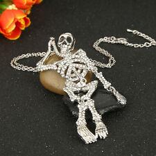 Halloween Skull Bone Skeleton Necklace Pendant Clear Rhinestone Crystal Gift