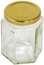 Tala Hexagonal Glass Preserving Jar Gold Screw Top Lid Jam - 12oz / 340g
