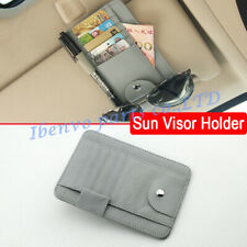 Car Visor Clip Holder Card Wallet Glasses Gray PU Leather Storage Accessories