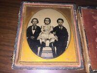 Civil War Era Ambrotype Photograph of Three Young Sibling Brothers & Sister