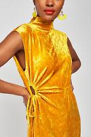 NEW Topshop Mustard Yellow Velvet Ruched Midi Party Dress UK8/EU36/US4 RRP £35
