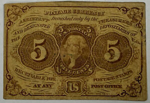 5 Cent Postage Currency 1st Issue 1862 Jefferson