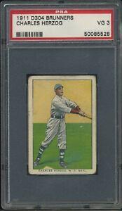 1911 D304 Brunner's Bread - Charles Herzog - PSA 3 VG - New York Giants