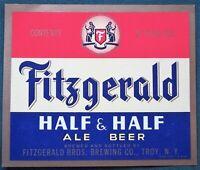 Fitzgerald Half & Half Ale Beer Troy New York Brewing Co orig 1949 Bottle Label