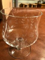 Vintage delicate cut etched flowers and leaves snifter glasses w/glass lids. #6