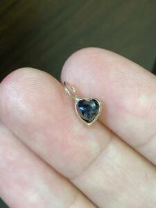 Natural Black .50CT Rose Cut Heart Shape Diamond 14K Yellow Gold Pendant Charm