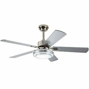 42-Inch Contemporary LED Ceiling Fan 5 Silver Wood Blades and Remote Control