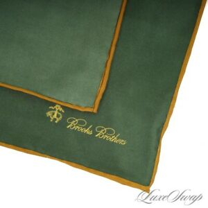 NWT Brooks Brothers Ivy Green Gold Piped Solid Hand Rolled Silk Pocket Square NR