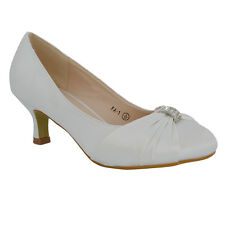 Womens Low Heel Bridal Shoes Ladies Satin Courts Size 3-8