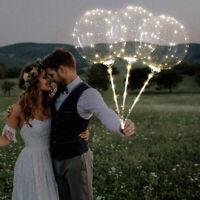 3Pcs Reusable Luminous Led Balloon Transparent Round Bubble Decoration Party UK