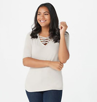 G.I.L.I. Cut-Out V-Neck Elbow Sleeve Knit Top - Taupe - Medium