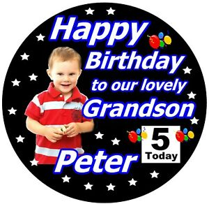 PERSONALISED GRANDSON / HAPPY BIRTHDAY BADGE / WITH PHOTO / BRAND NEW / GIFTS