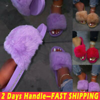 Womens Ladies Flat Shoes Fluffy Fur Sandals Sliders Summer Casual Comfy Slippers