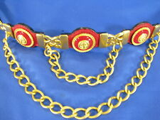 STREET WORKS Vintage RED LEATHER BELT Front Chains ANCHOR ENAMEL CONCHOS sz S/M