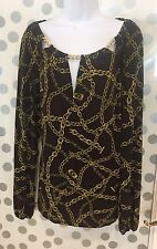 $120~MICHAEL KORS BROWN & TRIPLE KEY HOLE GOLD CHAIN PEASANT TUNIC TOP SZ XL NWT