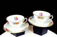 "ROSENTHAL BAVARIA J E CALDWELL & CO 2 BARROCK FLOWER 1/2"" CUP AND SAUCER SETS"