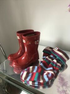 Hunter Wellington Boots Red Infant Size 9  U.K. With Socks Great Condition