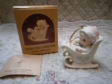 Mib Precious Moments Ornament Baby's 1st First Christmas 1988 Girl/Sled/Doll