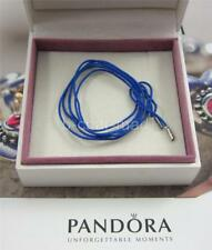 PANDORA | GENUINE Blue String Cord Silver Ends Bracelet Necklace: 390961CBE-100