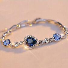 Jewelry Silver Plated Charm Bracelet Bangle Hot Fashion Women Girls Blue Crystal