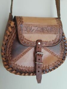 Hand Crafted 8 Inch x 7 Inch x 3 inch Cross-body Mini Leather Hand Bag Beautiful