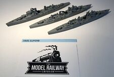 VINTAGE TRIANG MINIC SHIPS - M762 - HMS SUPERB X 3 - RARE UNBOXED DIECAST