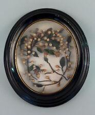 Antiker Biedermeier Bilderrahmen Oval Schwarz Schellack mit Laub/Blüten/Zweigen