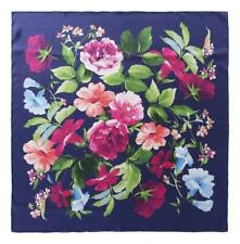 Large Square Silk Twill Scarf Navy Theme Flower Print XWC725