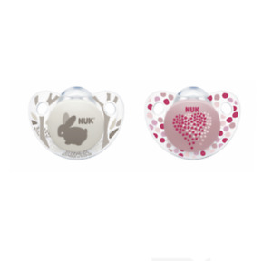 Nuk Orthodontic Pacifiers Heart Size 0-6 Months
