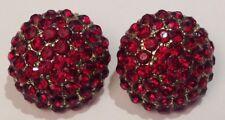 boucles d'oreilles percées vintage ronde couleur or cristaux rouge rubis 3667