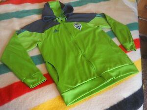 Adidas SEATTLE SOUNDERS FC MLS Green Zip Hoodie Sweatshirt Soccer Mens 2XL XXL