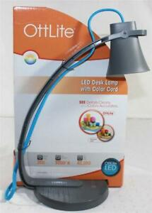 OttLite LED Desk Lamp With Blue Color Cord 300 Lumen 40,000 Hour LED Life Gray