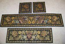 Set 4 Antique Vintage Brocade Tapestry Table Runners Dresser Scarf Birds Floral