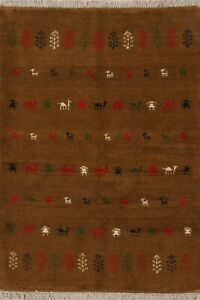 4x5 Traditional Hand-Knotted Gabbeh Tribal Area Rug Wool Oriental Kitchen Carpet