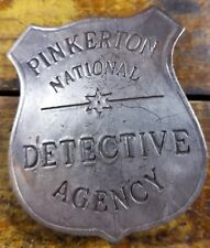 Pinkerton National Detective Agency Silver Plate Pinback Old West Style Badge