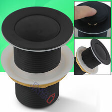 32 mm Matt Black Non Overflow Push Pop Up Waste Drain Plug Bathroom Basin Vanity
