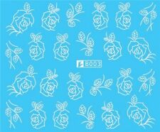 Nail Art Stickers Water Decals Transfers White Mono Flowers Roses (B003)