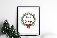 Traditional Christmas Wreath Print Mistletoe Watercolour Winter Wall Art White
