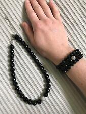 Black Rhinestone Necklace Prom Bead Bracelets Stretch Set Dressy Fashion Jewelry