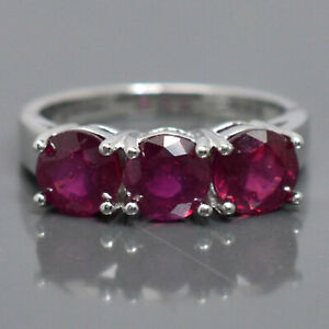 925 Solid Silver 6 MM Natural Red Ruby Gemstone Engagement Cluster Ring Jewelry