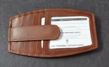 ili World Leather Toffee 10 Credit Card ID RFID Block Side Zip Pocket Snap G25