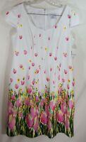 NEW Liz Claiborne white tulip floral dress Size 14 cap sleeve spring