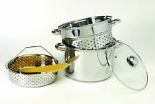 Pasta Cooker Steamer Stock Pot Strainer Drain Boil Stainless Steel Set 8QT 4Pcs