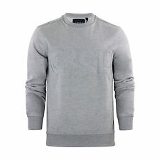 Mens Sweater Jumper Crosshatch Jathan Crew Neck Sweatshirt LT Grey Marl Large