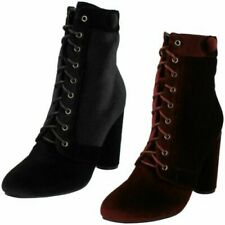Spot On Ladies Lace Up Velvet Ankle Boots